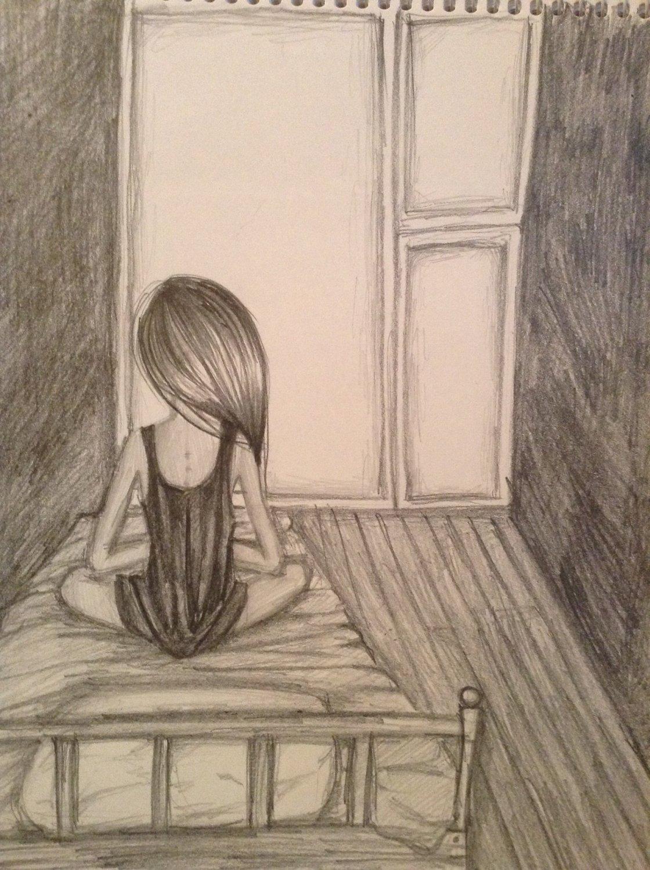Рисунок девочка у окна карандашом