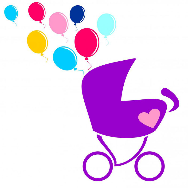 baby stroller with balls ,vector illustration